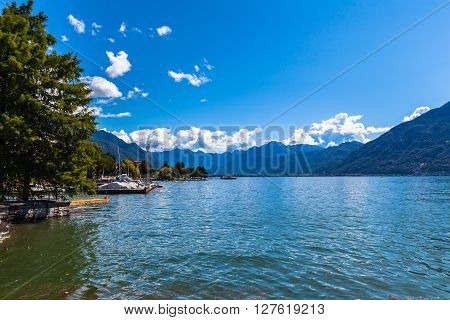 Beautiful view of Lake Maggiore in Locarno on a summer day canton of Ticino Switzerland.