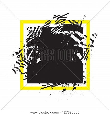Vector Grunge Stylized Geometrical Shape With Splashes And Splatters. Square Symbol Exploded And Dam