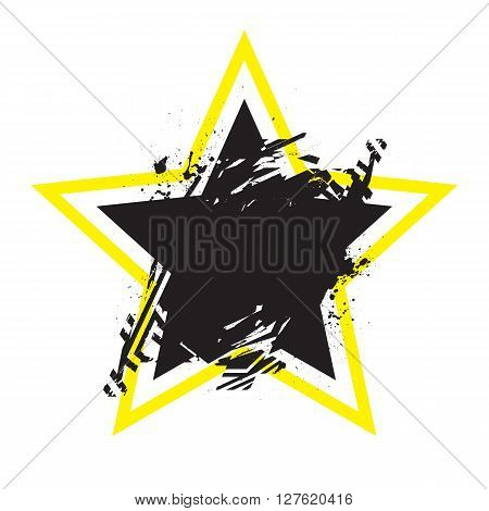 Vector Grunge Stylized Geometrical Shape With Splashes And Splatters. Star Symbol Exploded And Damag