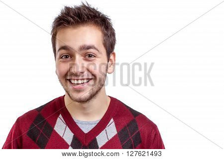 Young happy man smiling isolated on white background