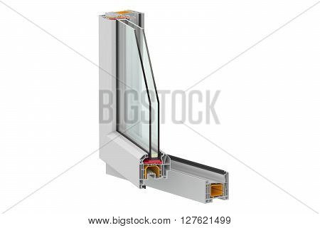 PVC window detail 3D rendering isolated on white background