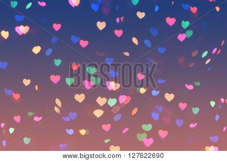 Bokeh Hearts Lights Romantic Background Pink Blue 1