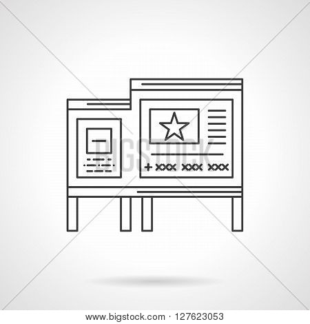 Bulletin board with samples of paper posters, ads. Outdoor advertisement objects. Flat line style vector icon. Single design element for website, business.