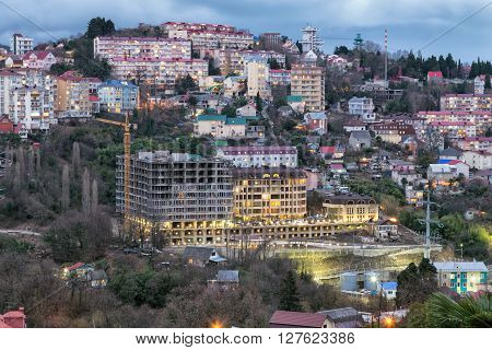 The city of Sochi, view residential houses district Svetlana. Russia