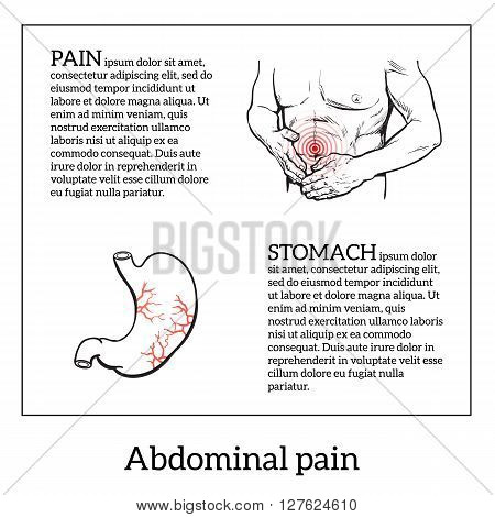 Abdominal pain in men, stomach and bowel disease, digestive problems, sick intestines, vector sketch hand-drawn image of the man holding his sick stomach, detailed image of the stomach, health problem
