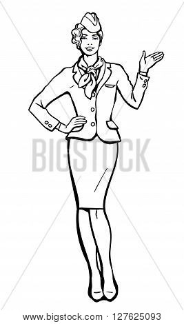 Blonde stewardess. stewardess in blue uniform. Waitress shows up on the information. Image stewardess on a white background. Empty space for information. Stewardess in blue suit and gloves