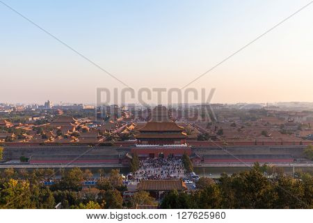 Aerial View Of Forbidden City At Sunset