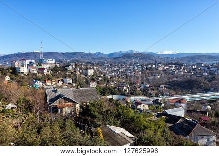 The view on Khosta district of Sochi in the morning sun. Russia ** Note: Soft Focus at 100%, best at smaller sizes