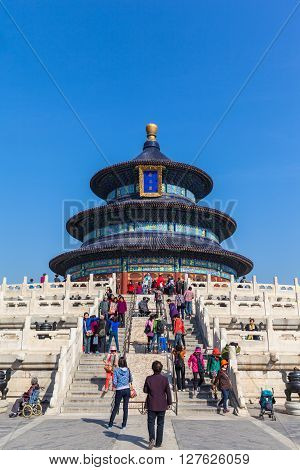 Beijing China - October 17 2014 - A lot of tourists visiting the Temple of Heaven (Tiantan) Beijing China.