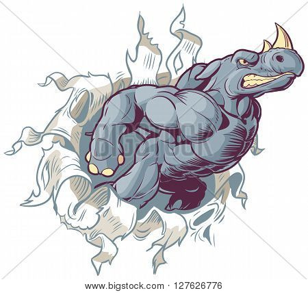 Vector Cartoon Clip Art Illustration of an Anthropomorphic Cartoon Mascot Rhino Ripping Through a Paper Background.