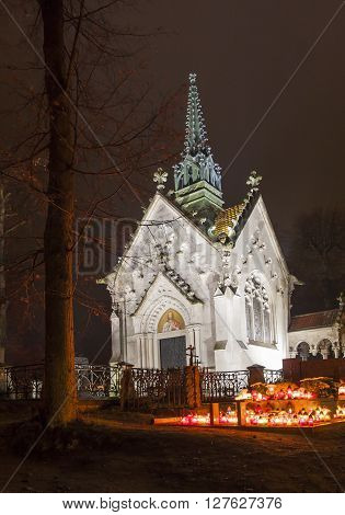 Evangelical-augsburg church in Suprasl Poland. Evening All Souls' Day