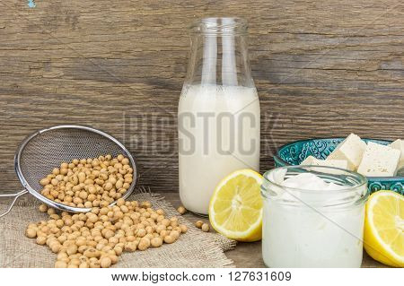 Soy Mayonnaise, Soy Milk,tofu, Lemon And Soybeans, On Wooden Background