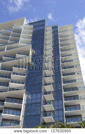 exterior details of a luxury high-rise condominium in miami beach,florida