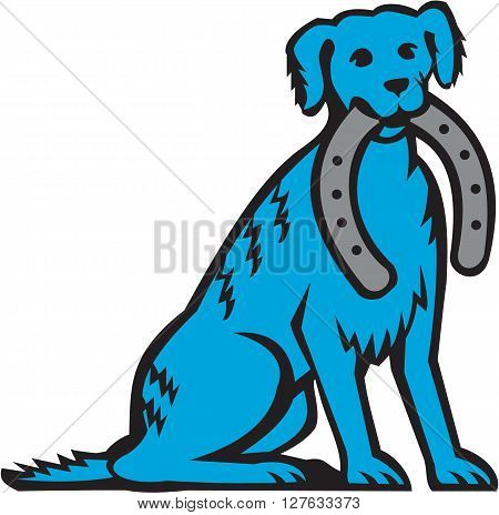 Illustration of a blue merle dog sitting biting horseshoe viewed from front set inside circle on isolated background done in retro style.