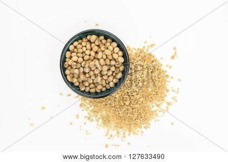 Soybeans In Bowl And Dry Soya Mince, Isolated On White Background.