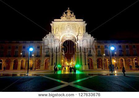 Lisbon, Portugal, January 9, 2016: The Arco da Rua Augusta in Lisbon, Portugal