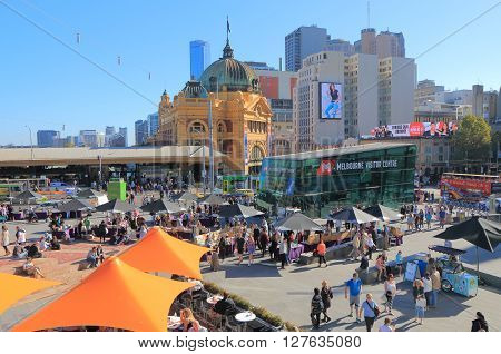 MELBOURNE AUSTRALIA - APRIL 24, 2016: Melbourne cityscape with Flinders Street Station and Federation Square.