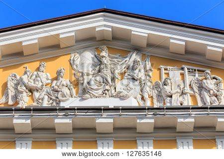 Saint, Petersburg Russia - 9 July, 2015: sculptures above the entrance of the Admiralty building. The Admiralty building is the former headquarter of the Admiralty Board and the Imperial Russian Navy and the current headquarter of the Russian Navy.