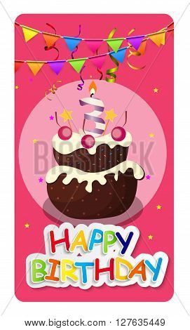 Happy Birthday Card Baner Background  with Cake and Flags. Vector Illustration EPS10