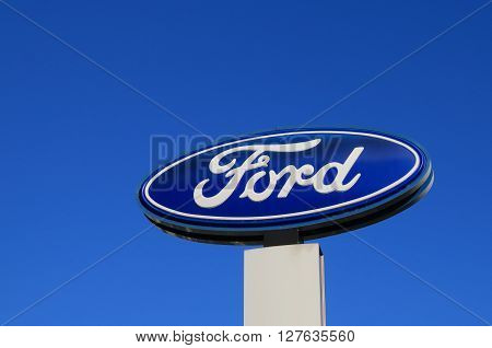 MELBOURNE AUSTRALIA - APRIL 24, 2016: Ford car manufacturer.  The Ford Motor Company is an American multinational automaker headquartered in Dearborn, Michigan.