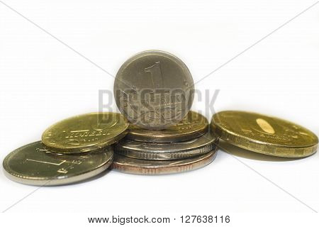 Iron Russian coins on a white background headed with 1 kopeck.