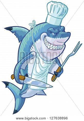 Vector cartoon clip art illustration of a tough mean smiling shark wearing a chef hat apron and holding a barbecue fork and butcher knife. Accessories are on a separate layer in the vector file.