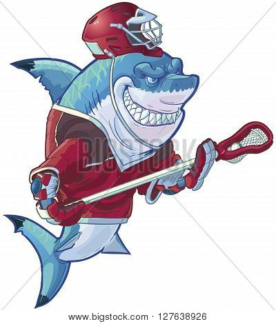 Vector cartoon clip art illustration of a tough mean smiling shark mascot wearing a lacrosse uniform and an ill-fitting helmet. Helmet and uniform are on separate layers in the vector file. poster