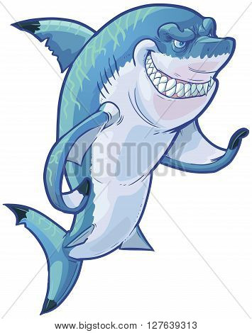 Vector cartoon clip art illustration of a tough mean smiling shark mascot gesturing with its pectoral fin. The caustic lighting stripes on the shark's back are on a separate layer in the vector file.
