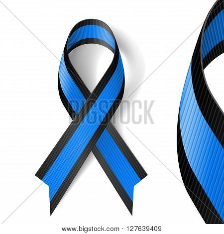 Blue and black awareness ribbon as symbol of ocular melanoma