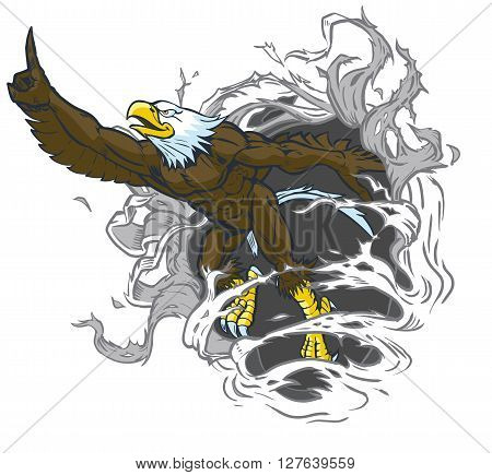 Vector cartoon clip art illustration of a tough muscular bald eagle mascot ripping out of the background while throwing the number one hand gesture. The eagle is on a separate layer in the vector file.