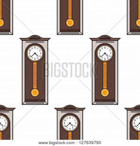 Grandfather clock. Seamless pattern with interior clock. Flat colored illustration of object. Vector icon