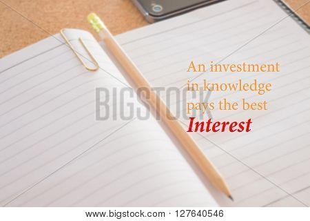 An investment in knowledge pays the best interest stock photo