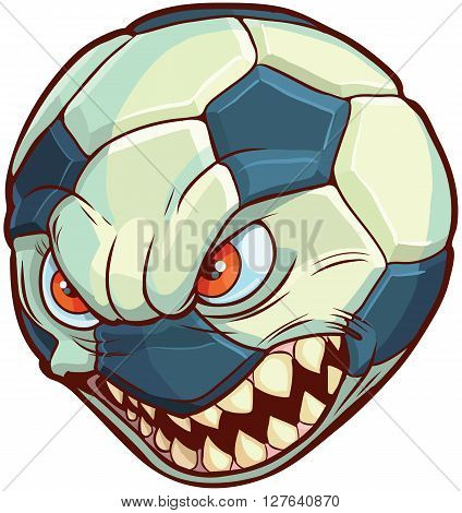 Vector cartoon clip art illustration of a soccer ball or football with a mean face with red eyes and sharp teeth