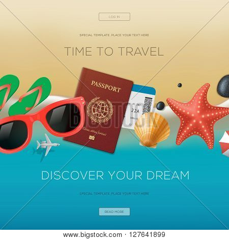 Summertime vacation background, time to travel, discover your dream, vector illustration.