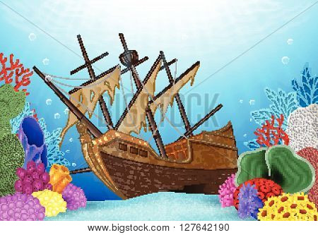 Vector illustration of Shipwreck on the ocean