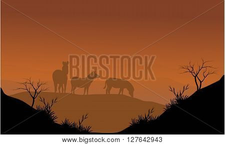 Zebra silhouette in hills with brown backgrounds