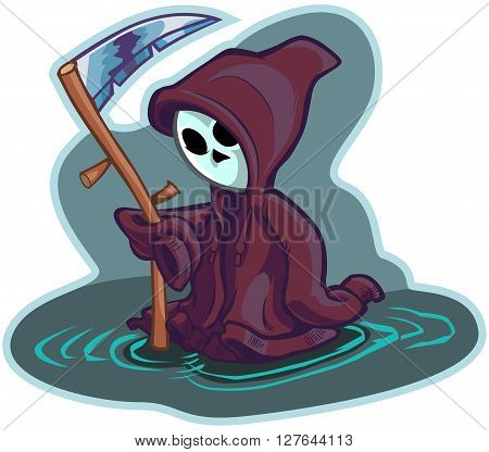 Vector cartoon clip art illustration of a cute little or young child version of death or the grim reaper wearing an oversize hoodie or hooded sweatshirt instead of a robe and holding a scythe.