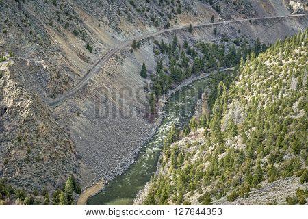 Colorado River and railroad in Gore Canyon above Pumphouse Recreation Area, Grand County, Colorado