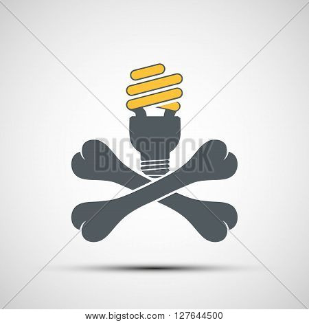 Cross bones with energy saving lamp. Environmental pollution. Hazardous waste. Stock vector illustration.