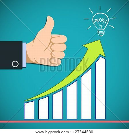 Graph the growth of profit. Increased revenue. Stock vector illustration.