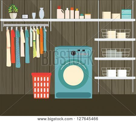 Laundry room with washing machine facilities for washing washing powder and basket on shelves Flat style vector illustration.