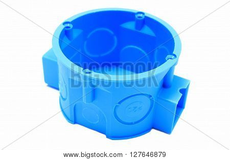Blue plastic electrical box on white background junction box accessories for engineering jobs