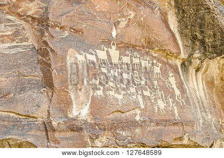 Scholars believe this rock art panel may represent an actual hunt of big horn sheep. The art is similar to that of the Fremont period.