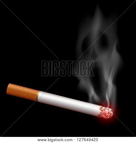 Cigarette with smoke in the form of a monster. Bad habit. Stock vector illustration.