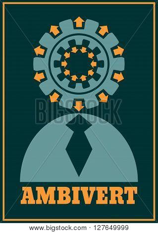 Ambivert metaphor. Simple human torso icon. Image relative to human psychology