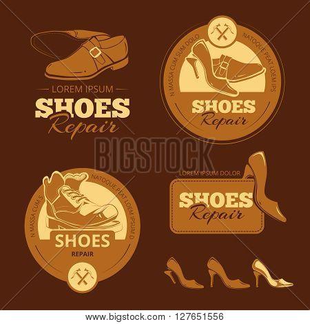 Vector vintage color labels set of shoes repair