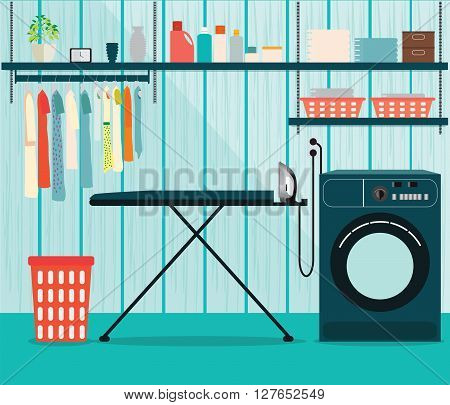 Laundry room with washing machine and ironing board facilities for washing washing powder and basket on shelves Flat style vector illustration.