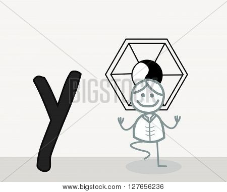 Y for Yoga .eps10 editable vector illustration design
