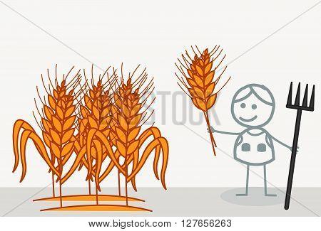 Wheat Farmer .eps10 editable vector illustration design