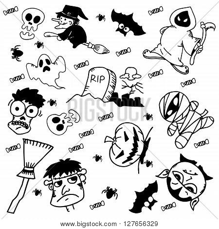 Doodle Halloween for kids with black and white backgrounds